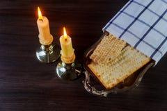 Jewish holiday Sabbath matzoh passover and candelas Stock Photography