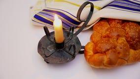 Jewish holiday Sabbath matzoh passover and candelas stock video footage