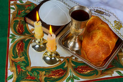 Jewish holiday Sabbath matzoh passover and candelas. Jewish holiday Sabbath image. matzoh jewish passover and candelas on wooden table Royalty Free Stock Photo
