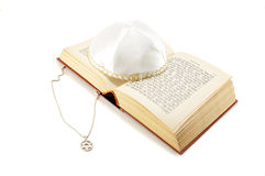 Jewish holiday still life with torah and kippah. Jewish holiday still life with torah,david star and kippah on white background Stock Photography