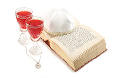 Jewish holiday still life with torah,wine,kippah Stock Image