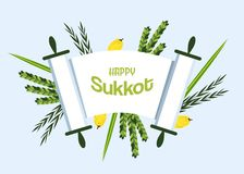 Jewish holiday Sukkot. torah with Lulav, ,Etrog, Arava and Hadas. Four species symbols date palm, citron, willow, myrtle illustration Stock Images