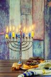 Jewish Holiday  symbol Hanukkah background with menorah Royalty Free Stock Photos