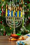 Jewish Holiday symbol Hanukkah background with menorah Royalty Free Stock Photo
