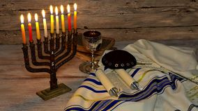 Jewish holiday symbol Hanukkah, the Jewish Festival of Lights. Jewish holiday symbol Hanukkah menorah with burning candles, the Jewish Festival of Lights stock video