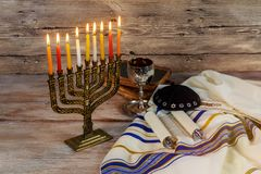 Jewish holiday hannukah symbols - menorah. Jewish Holiday symbol Star of David Hanukkah menorah Hanukkah, the Jewish Festival of Lights Royalty Free Stock Images