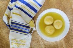 Jewish Holiday symbol traditional chicken matzo ball soup Royalty Free Stock Photos