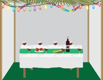 Jewish holiday traditional Sukkah and dinner table. Jewish holiday traditional Sukkah with palm leaves, string lights and paper decorations, and dinner table royalty free illustration