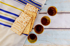 Jewish holiday Wine and matzoh - elements of jewish passover supper Royalty Free Stock Image