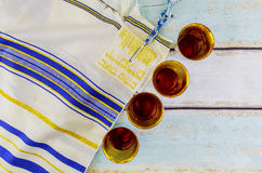 Jewish holiday Wine and matzoh - elements of jewish passover supper Stock Images