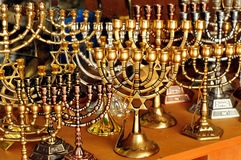 Jewish Holidays Hanukkah. Menorah for sale in shop in the Jerusalem old city market. Hanukkah Jewish holiday is observed for eight nights and days stock photography