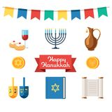 Jewish holidays hanukkah flat icons. Happy Chanukah, Festival of Lights, Feast of Dedication.Menorah with candles. Religious holiday. Vector illustration Royalty Free Stock Photos