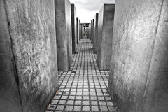 Jewish Holocaust Memorial, Berlin Germany. With a low angle view of the passage between the large concrete slabs or stelae Stock Photos