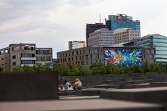 4.6.2017 BERLIN GERMANY: Jewish Holocaust Memorial museum and Berlin city skyline, Berlin, Germany. Jewish Holocaust Memorial museum and Berlin city skyline stock photography