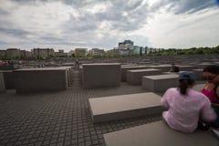 4.6.2017 BERLIN GERMANY: Jewish Holocaust Memorial museum and Berlin city skyline, Berlin, Germany. Jewish Holocaust Memorial museum and Berlin city skyline royalty free stock photography