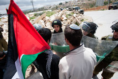 Jewish Israeli and Palestinian protest Israeli occupation Royalty Free Stock Photo
