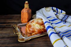 Jewish Kiddush ceremony of welcoming the Saturday Shabbat or holiday jewish holiday celebration. Jewish Kiddush ceremony of Sabbath ritual wine welcoming the Royalty Free Stock Photo