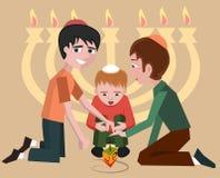 Jewish kids with spinning top, hanukkah symbol Stock Image