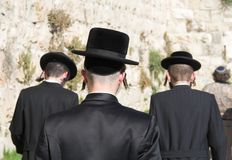 Jewish man. Jewish men in Jerusalem are going to the wailing wall Stock Photo