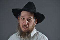 Jewish man. This picture represents a senior Jewish man, wearing a black hat Royalty Free Stock Image