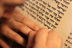 Jewish man with beard writing on a parchment scroll. Photo taken on: December 30th,2015 Royalty Free Stock Photo