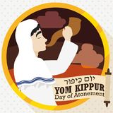 Jewish Man Blowing a Shofar with Scroll for Yom Kippur, Vector Illustration Stock Image