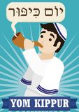 Jewish Man Blowing a Shofar to Celebrate Yom Kippur, Vector Illustration. Poster with a Jewish man wearing a tallit, a kippah and blowing a Shofar horn, behind a Stock Photo