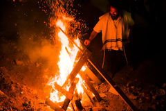 Jewish man by bonfire in mt meron, israel Stock Images