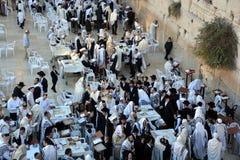 Jewish man celebrate Simchat Torah. Stock Photos