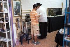 Jewish. Man with kippah is attending the kabbalah ritual, tradtional ritual with the chassidim, a orthodox , Safed, Israel. Kabbalah is an esoteric method Royalty Free Stock Photo