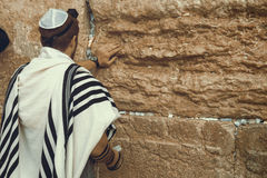 Jewish man praying at the sacred Wailing Wall, Western Wall, Jerusalem, Israel Stock Image