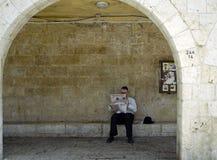 Jewish Man Reading Newspaper Royalty Free Stock Image