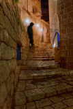Jewish man silhouette - Narrow streets of Old Jaffa at Night Stock Photos