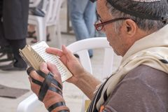 Jewish Man at western wall. Israel, Jerusalem. Jewish Man praying at western wall wall 15, september, 2017 Royalty Free Stock Photos