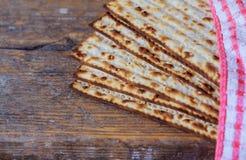 Jewish matza on Passover. Jewish bread matza on wood matzah or matza on a vintage wood Stock Photography