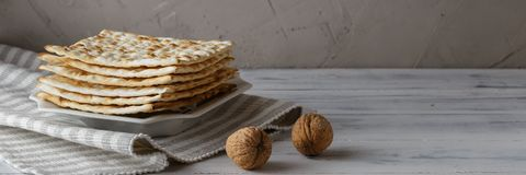 Jewish Matzah bread with wine for Passover holiday royalty free stock images