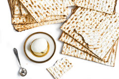 Jewish matzah with egg Stock Photography