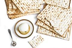 Jewish matzah with egg Stock Photography