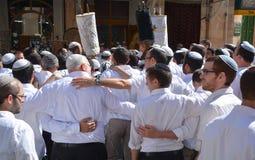 Jewish men celebrate Simchat Torah Stock Images