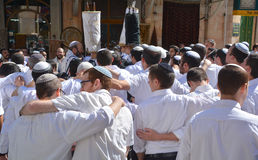 Jewish men celebrate Simchat Torah Royalty Free Stock Photo