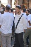 Jewish men celebrate Simchat Torah Stock Photo