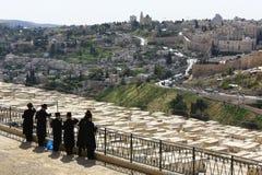 Jewish Men at Cemetery, Mount of Olives, Jerusalem, Israel Stock Photos