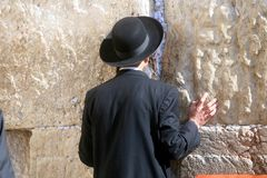 Jewish men pray at the western wall in Jerusalem royalty free stock images
