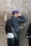 Jewish men pray at the western wall in Jerusalem Stock Photography