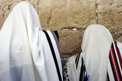 Jewish Men Praying. Cohen are blessing at the Western Wall during the Sukkot holiday in Jerusalem Stock Photography