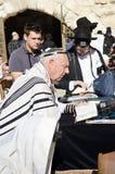 Jewish men praying stock photo