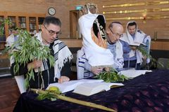 Jewish men praying in synagogue on the Jewish holiday festival o royalty free stock photography