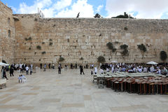 Jewish Men at the Western Wall in Jerusalem Royalty Free Stock Images