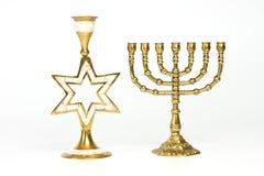 The Jewish menorah and candlestick Stock Image
