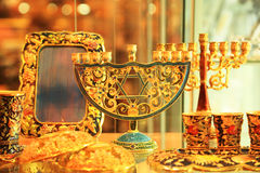 The Jewish menorah. Menorah with the star of David Stock Photos